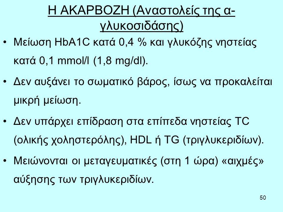 50 Η ΑΚΑΡΒΟΖΗ (Αναστολείς της α- γλυκοσιδάσης) Μείωση ΗbA1C κατά 0,4 % και γλυκόζης νηστείας κατά 0,1 mmol/l (1,8 mg/dl). Δεν αυξάνει το σωματικό βάρο