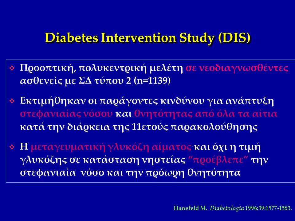 Θνησιμότητα στην μελέτη DECODE σε σχέση με την γλυκόζη Arch Intern Med 161:397, 2001 Θάνατος μετά από 9 έτη RR =1,45 RR =2