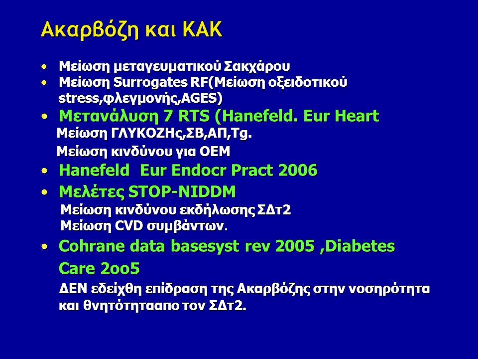 Αντιδιαβητική αγωγή και ΣΔΤ2-ΚΑΝ. Ακαρβόζη 3.Οφέλη -Πρόληψη ΣΔτ2 -Μείωση Καρδιαγγειακού κινδύνου.