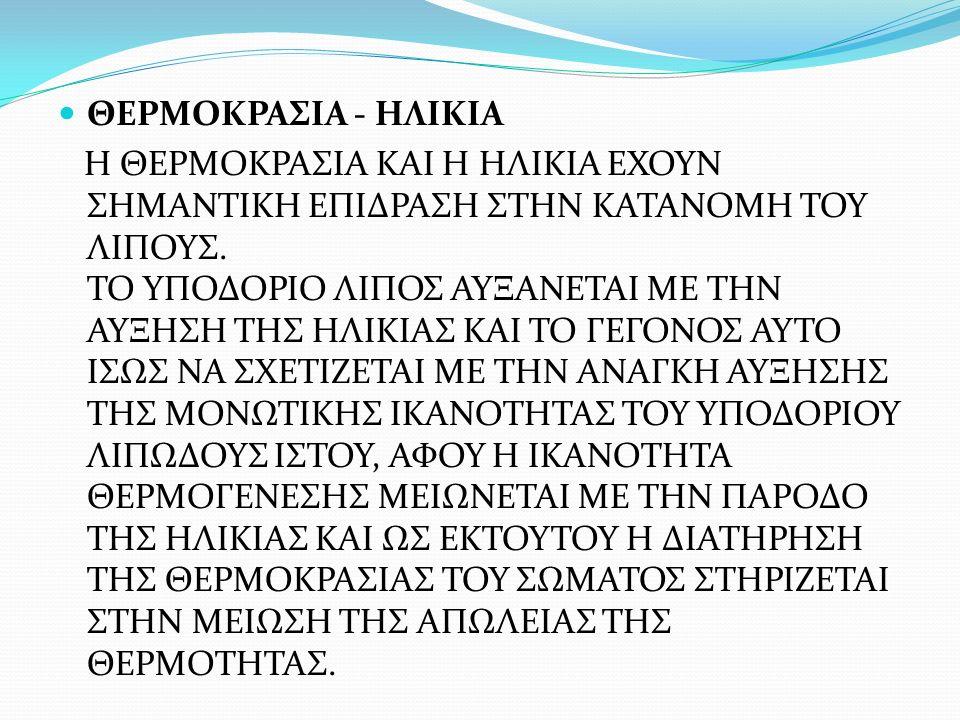 ΘΕΡΜΟΚΡΑΣΙΑ - ΗΛΙΚΙΑ Η ΘΕΡΜΟΚΡΑΣΙΑ ΚΑΙ Η ΗΛΙΚΙΑ ΕΧΟΥΝ ΣΗΜΑΝΤΙΚΗ ΕΠΙΔΡΑΣΗ ΣΤΗΝ ΚΑΤΑΝΟΜΗ ΤΟΥ ΛΙΠΟΥΣ.