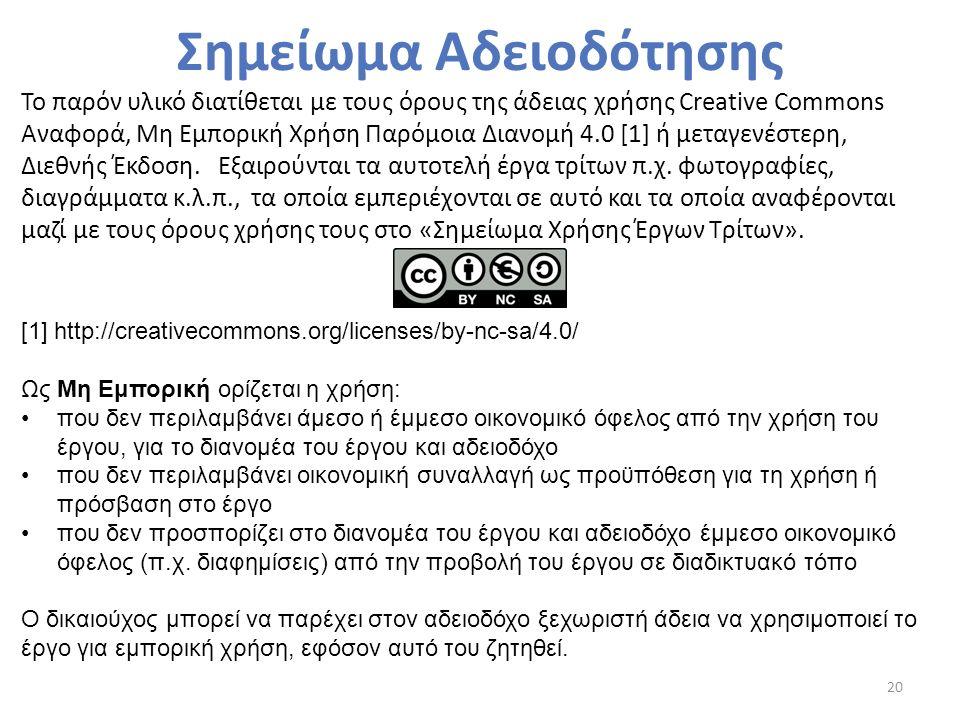 Σημείωμα Αδειοδότησης 20 Το παρόν υλικό διατίθεται με τους όρους της άδειας χρήσης Creative Commons Αναφορά, Μη Εμπορική Χρήση Παρόμοια Διανομή 4.0 [1] ή μεταγενέστερη, Διεθνής Έκδοση.