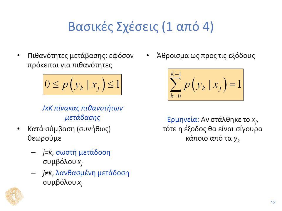 13 Βασικές Σχέσεις (1 από 4) Πιθανότητες μετάβασης: εφόσον πρόκειται για πιθανότητες JxK πίνακας πιθανοτήτων μετάβασης Κατά σύμβαση (συνήθως) θεωρούμε – j=k, σωστή μετάδοση συμβόλου x j – j≠k, λανθασμένη μετάδοση συμβόλου x j Άθροισμα ως προς τις εξόδους Ερμηνεία: Αν στάλθηκε το x j, τότε η έξοδος θα είναι σίγουρα κάποιο από τα y k