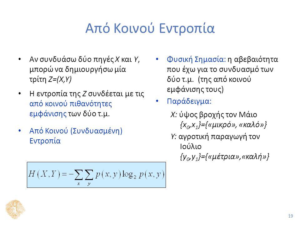 19 Από Κοινού Εντροπία Αν συνδυάσω δύο πηγές Χ και Υ, μπορώ να δημιουργήσω μία τρίτη Ζ=(Χ,Υ) Η εντροπία της Ζ συνδέεται με τις από κοινού πιθανότητες εμφάνισης των δύο τ.μ.