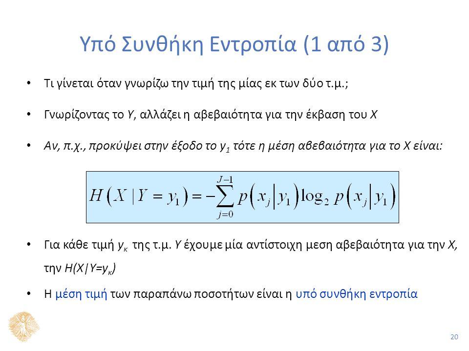 20 Υπό Συνθήκη Εντροπία (1 από 3) Τι γίνεται όταν γνωρίζω την τιμή της μίας εκ των δύο τ.μ.; Γνωρίζοντας το Υ, αλλάζει η αβεβαιότητα για την έκβαση του Χ Αν, π.χ., προκύψει στην έξοδο το y 1 τότε η μέση αβεβαιότητα για το Χ είναι: Για κάθε τιμή y κ της τ.μ.