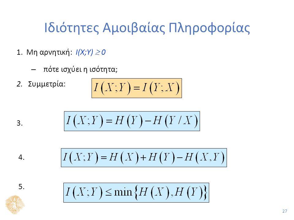 27 Ιδιότητες Αμοιβαίας Πληροφορίας 1. Μη αρνητική: Ι(X;Y)  0 – πότε ισχύει η ισότητα; 2.