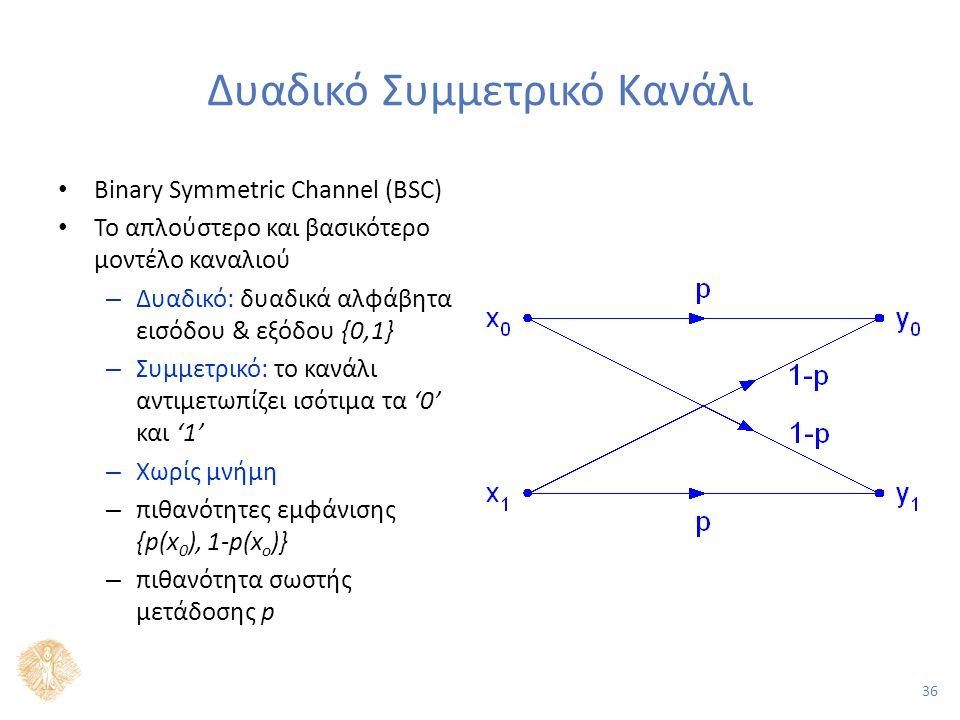 36 Δυαδικό Συμμετρικό Κανάλι Binary Symmetric Channel (BSC) Το απλούστερο και βασικότερο μοντέλο καναλιού – Δυαδικό: δυαδικά αλφάβητα εισόδου & εξόδου {0,1} – Συμμετρικό: το κανάλι αντιμετωπίζει ισότιμα τα '0' και '1' – Χωρίς μνήμη – πιθανότητες εμφάνισης {p(x 0 ), 1-p(x o )} – πιθανότητα σωστής μετάδοσης p