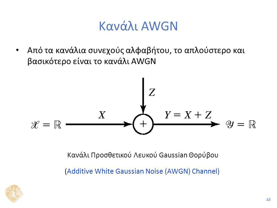 48 Κανάλι AWGN Από τα κανάλια συνεχούς αλφαβήτου, το απλούστερο και βασικότερο είναι το κανάλι AWGN Κανάλι Προσθετικού Λευκού Gaussian Θορύβου (Additive White Gaussian Noise (AWGN) Channel)