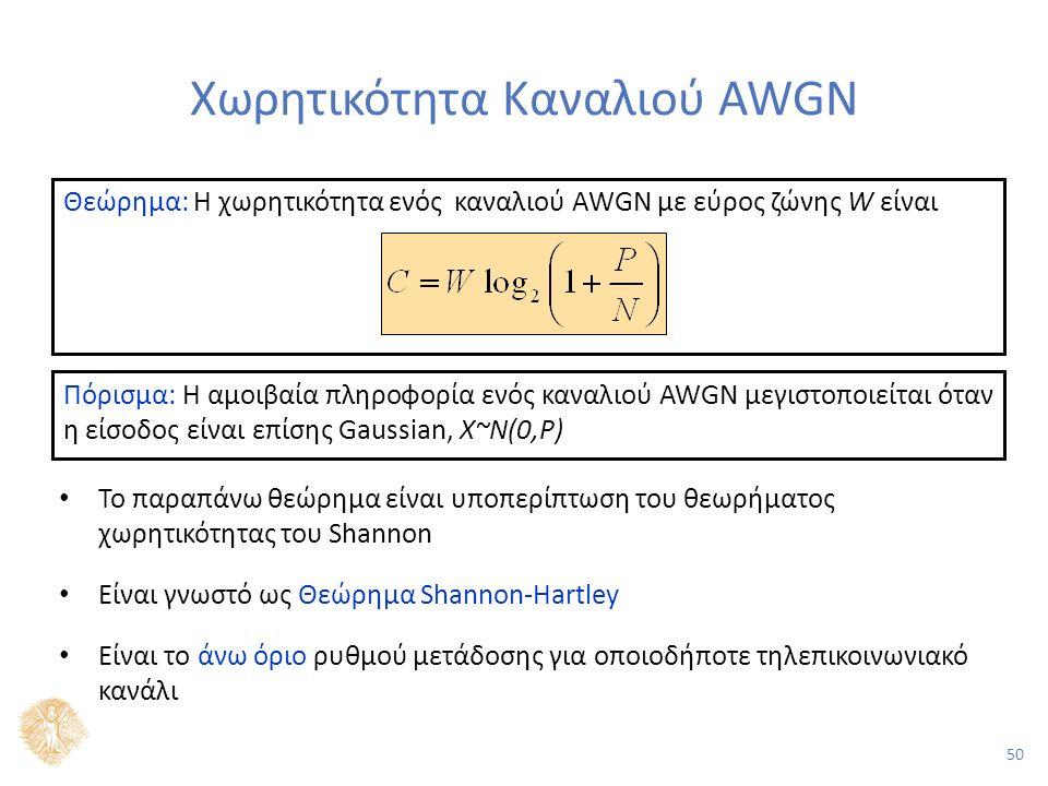 50 Χωρητικότητα Καναλιού AWGN Το παραπάνω θεώρημα είναι υποπερίπτωση του θεωρήματος χωρητικότητας του Shannon Είναι γνωστό ως Θεώρημα Shannon-Hartley Είναι το άνω όριο ρυθμού μετάδοσης για οποιοδήποτε τηλεπικοινωνιακό κανάλι Θεώρημα: Η χωρητικότητα ενός καναλιού AWGN με εύρος ζώνης W είναι Πόρισμα: Η αμοιβαία πληροφορία ενός καναλιού AWGN μεγιστοποιείται όταν η είσοδος είναι επίσης Gaussian, Χ~N(0,P)