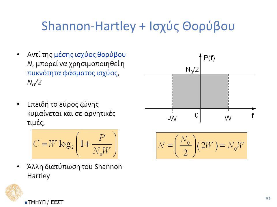 51 Shannon-Hartley + Ισχύς Θορύβου Αντί της μέσης ισχύος θορύβου Ν, μπορεί να χρησιμοποιηθεί η πυκνότητα φάσματος ισχύος, Ν 0 /2 Επειδή το εύρος ζώνης κυμαίνεται και σε αρνητικές τιμές, Άλλη διατύπωση του Shannon- Hartley ΤΜΗΥΠ / ΕΕΣΤ