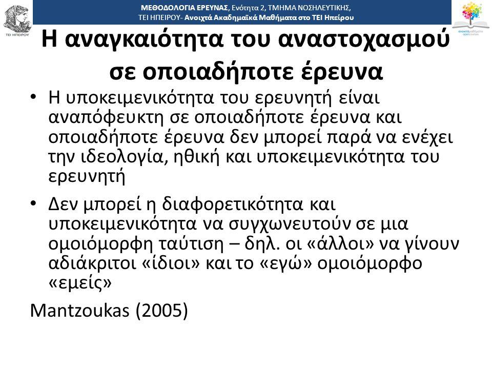 1616 -,, ΤΕΙ ΗΠΕΙΡΟΥ - Ανοιχτά Ακαδημαϊκά Μαθήματα στο ΤΕΙ Ηπείρου Η αναγκαιότητα του αναστοχασμού σε οποιαδήποτε έρευνα Η υποκειμενικότητα του ερευνη
