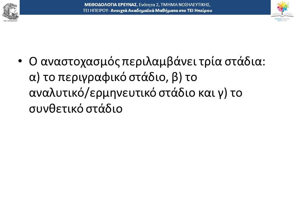 3232 -,, ΤΕΙ ΗΠΕΙΡΟΥ - Ανοιχτά Ακαδημαϊκά Μαθήματα στο ΤΕΙ Ηπείρου Ο αναστοχασμός περιλαμβάνει τρία στάδια: α) το περιγραφικό στάδιο, β) το αναλυτικό/ερμηνευτικό στάδιο και γ) το συνθετικό στάδιο ΜΕΘΟΔΟΛΟΓΙΑ ΕΡΕΥΝΑΣ, Ενότητα 2, ΤΜΗΜΑ ΝΟΣΗΛΕΥΤΙΚΗΣ, ΤΕΙ ΗΠΕΙΡΟΥ- Ανοιχτά Ακαδημαϊκά Μαθήματα στο ΤΕΙ Ηπείρου
