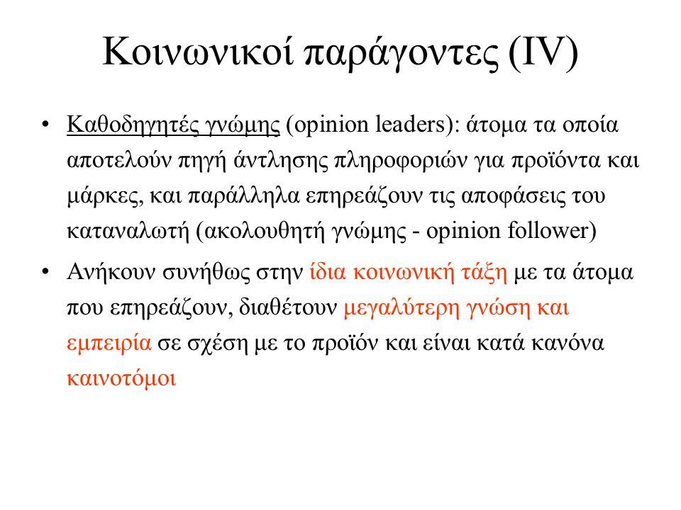 Κοινωνικοί παράγοντες (ΙV) Καθοδηγητές γνώμης (opinion leaders): άτομα τα οποία αποτελούν πηγή άντλησης πληροφοριών για προϊόντα και μάρκες, και παράλληλα επηρεάζουν τις αποφάσεις του καταναλωτή (ακολουθητή γνώμης - opinion follower) Ανήκουν συνήθως στην ίδια κοινωνική τάξη με τα άτομα που επηρεάζουν, διαθέτουν μεγαλύτερη γνώση και εμπειρία σε σχέση με το προϊόν και είναι κατά κανόνα καινοτόμοι