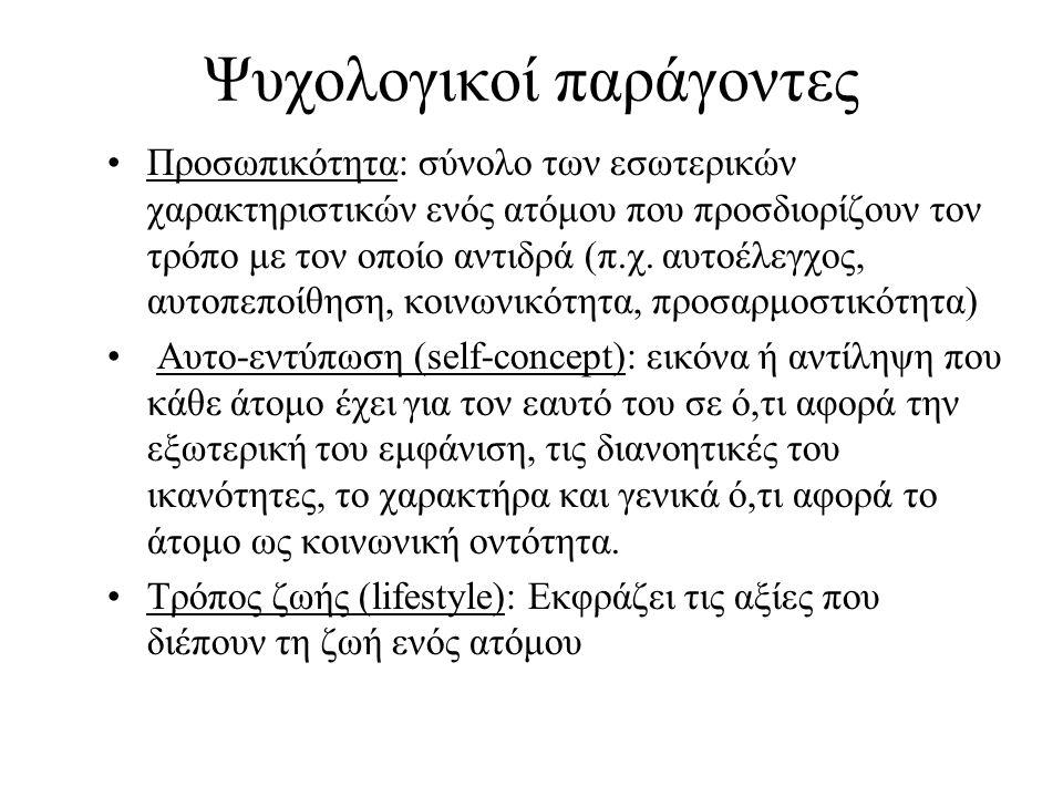 Ψυχολογικοί παράγοντες Προσωπικότητα: σύνολο των εσωτερικών χαρακτηριστικών ενός ατόμου που προσδιορίζουν τον τρόπο με τον οποίο αντιδρά (π.χ.
