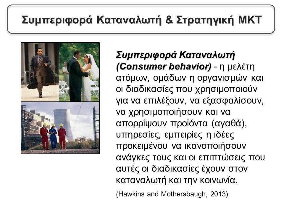 Συμπεριφορά Καταναλωτή (Consumer behavior) Συμπεριφορά Καταναλωτή (Consumer behavior) - η μελέτη ατόμων, ομάδων η οργανισμών και οι διαδικασίες που χρησιμοποιούν για να επιλέξουν, να εξασφαλίσουν, να χρησιμοποιήσουν και να απορρίψουν προϊόντα (αγαθά), υπηρεσίες, εμπειρίες η ιδέες προκειμένου να ικανοποιήσουν ανάγκες τους και οι επιπτώσεις που αυτές οι διαδικασίες έχουν στον καταναλωτή και την κοινωνία.