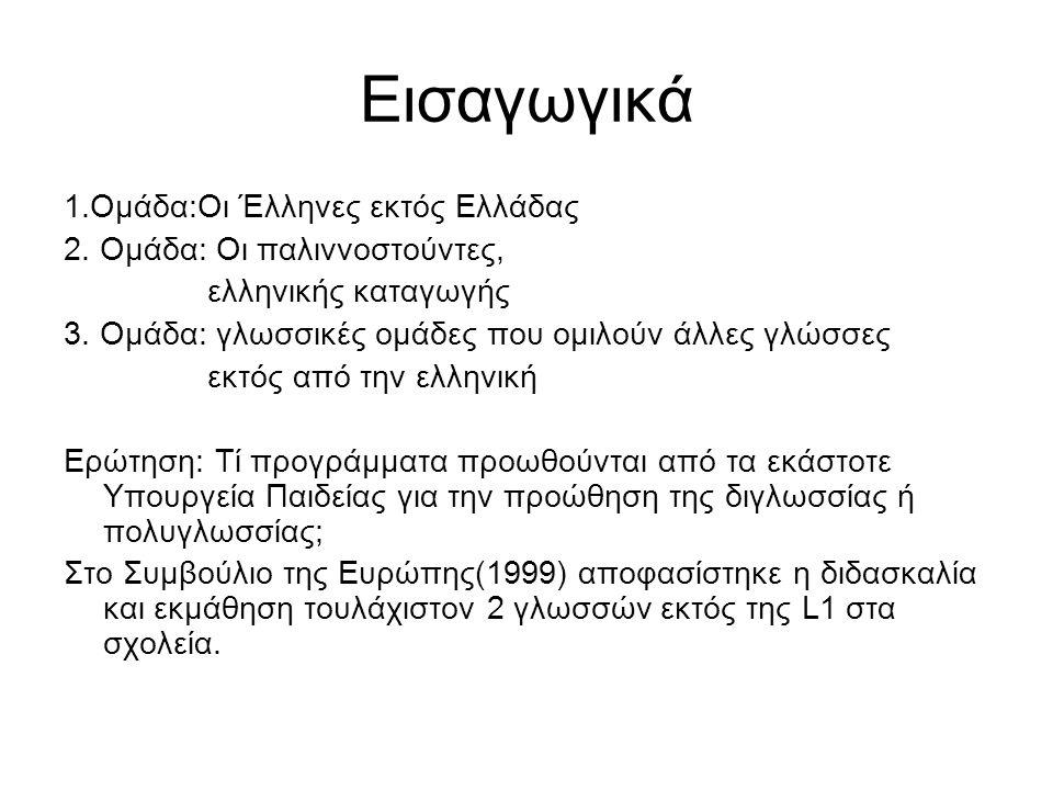 Εισαγωγικά 1.Ομάδα:Οι Έλληνες εκτός Ελλάδας 2. Ομάδα: Οι παλιννοστούντες, ελληνικής καταγωγής 3.