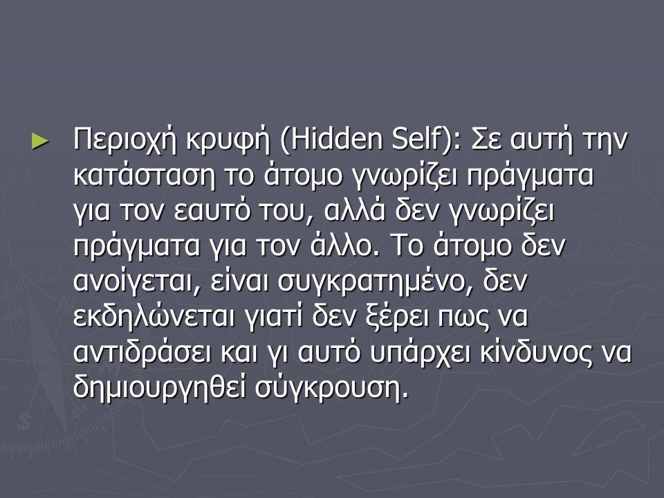 ► Περιοχή κρυφή (Hidden Self): Σε αυτή την κατάσταση το άτομο γνωρίζει πράγματα για τον εαυτό του, αλλά δεν γνωρίζει πράγματα για τον άλλο. Το άτομο δ