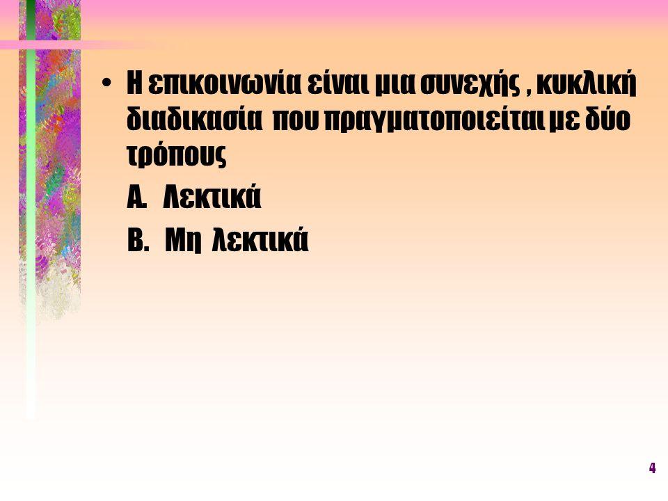 4 Η επικοινωνία είναι μια συνεχής, κυκλική διαδικασία που πραγματοποιείται με δύο τρόπους Α. Λεκτικά Β. Μη λεκτικά