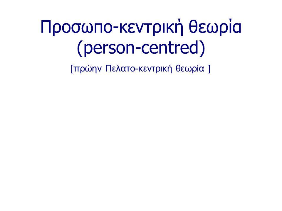 Προσωπο-κεντρική θεωρία (person-centred) [πρώην Πελατο-κεντρική θεωρία ]