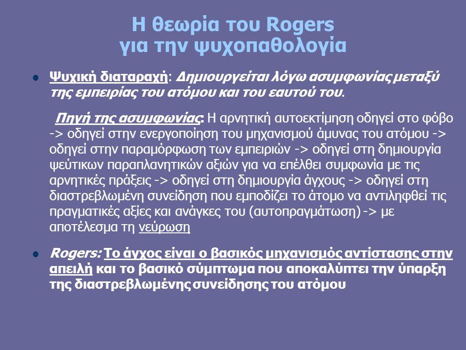 Η θεωρία του Rogers για την ψυχοπαθολογία Ψυχική διαταραχή: Δημιουργείται λόγω ασυμφωνίας μεταξύ της εμπειρίας του ατόμου και του εαυτού του.