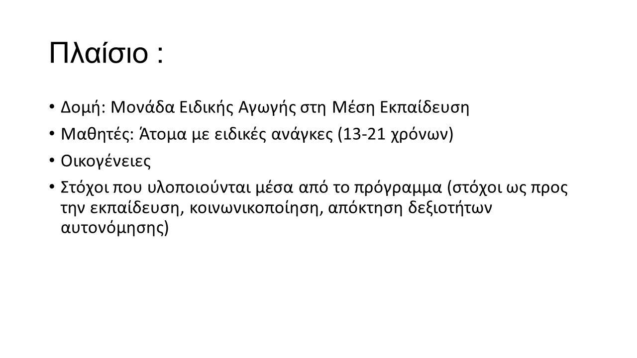 Πλαίσιο : Δομή: Μονάδα Ειδικής Αγωγής στη Μέση Εκπαίδευση Μαθητές: Άτομα με ειδικές ανάγκες (13-21 χρόνων) Οικογένειες Στόχοι που υλοποιούνται μέσα από το πρόγραμμα (στόχοι ως προς την εκπαίδευση, κοινωνικοποίηση, απόκτηση δεξιοτήτων αυτονόμησης)