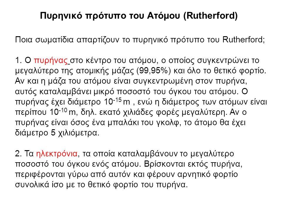 Πυρηνικό πρότυπο του Ατόμου (Rutherford) Ποια σωματίδια απαρτίζουν το πυρηνικό πρότυπο του Rutherford; 1. Ο πυρήνας στο κέντρο του ατόμου, ο οποίος συ