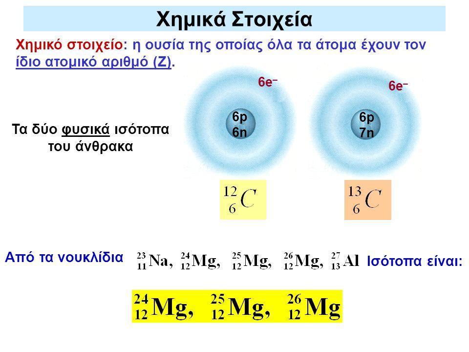 Χημικά Στοιχεία Χημικό στοιχείο: η ουσία της οποίας όλα τα άτομα έχουν τον ίδιο ατομικό αριθμό (Z). Τα δύο φυσικά ισότοπα του άνθρακα 6p 6n 6p 7n 6e –