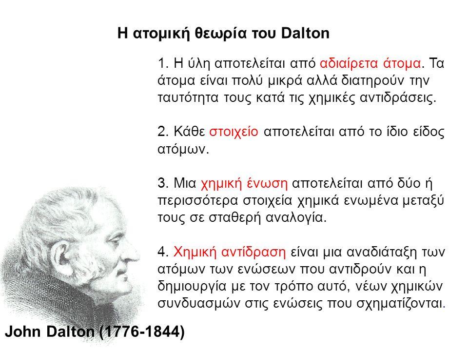 Η ατομική θεωρία του Dalton 1. Η ύλη αποτελείται από αδιαίρετα άτομα. Τα άτομα είναι πολύ μικρά αλλά διατηρούν την ταυτότητα τους κατά τις χημικές αντ