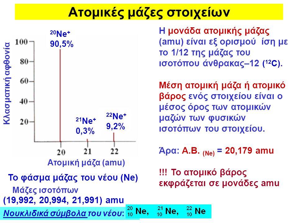 Ατομικές μάζες στοιχείων Η μονάδα ατομικής μάζας (amu) είναι εξ ορισμού ίση με το 1/12 της μάζας του ισοτόπου άνθρακας–12 ( 12 C). Μέση ατομική μάζα ή