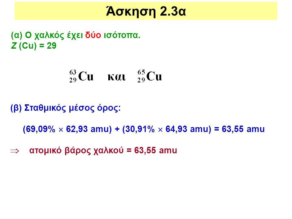 (α) Ο χαλκός έχει δύο ισότοπα. Ζ (Cu) = 29 (β) Σταθμικός μέσος όρος: (69,09%  62,93 amu) + (30,91%  64,93 amu) = 63,55 amu  ατομικό βάρος χαλκού =