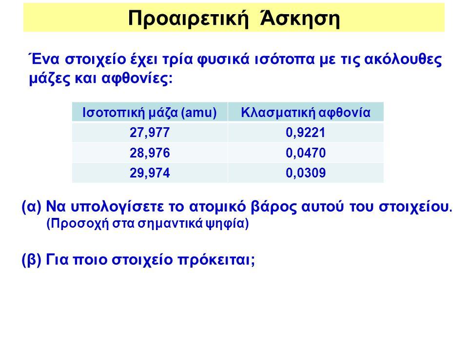 Προαιρετική Άσκηση Ένα στοιχείο έχει τρία φυσικά ισότοπα με τις ακόλουθες μάζες και αφθονίες: Ισοτοπική μάζα (amu)Κλασματική αφθονία 27,9770,9221 28,9
