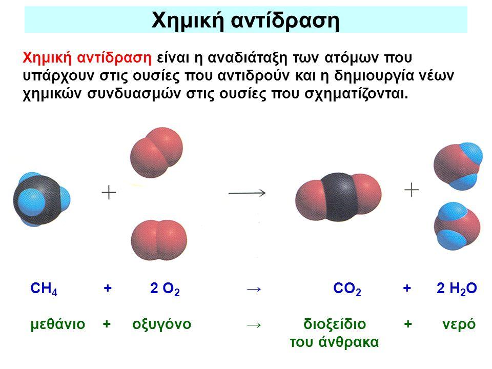 Χημική αντίδραση Χημική αντίδραση είναι η αναδιάταξη των ατόμων που υπάρχουν στις ουσίες που αντιδρούν και η δημιουργία νέων χημικών συνδυασμών στις ο