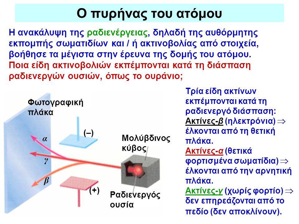 Ο πυρήνας του ατόμου Η ανακάλυψη της ραδιενέργειας, δηλαδή της αυθόρμητης εκπομπής σωματιδίων και / ή ακτινοβολίας από στοιχεία, βοήθησε τα μέγιστα στ