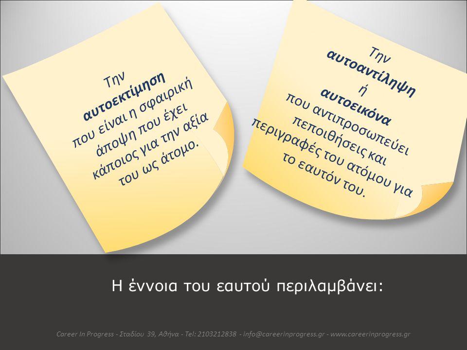 Συνδυάζοντας Τρεις Όψεις Career In Progress - Σταδίου 39, Αθήνα - Tel: 2103212838 - info@careerinprogress.gr - www.careerinprogress.gr Πεποιθήσεις & Αυτοαντιλήψεις