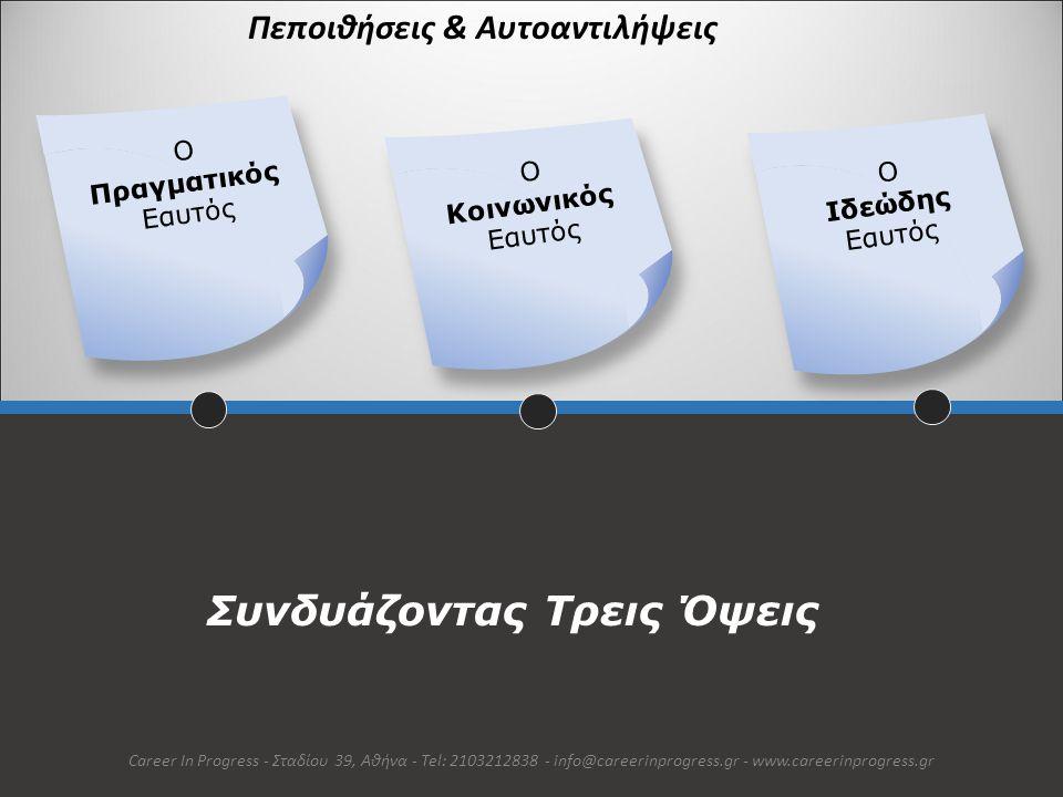 Ο Πραγματικός Εαυτός Career In Progress - Σταδίου 39, Αθήνα - Tel: 2103212838 - info@careerinprogress.gr - www.careerinprogress.gr Υποδηλώνει τα χαρακτηριστικά & τις ιδιότητες που το άτομο αποδίδει στον εαυτό του καθώς και την υποκειμενική άποψη του ατόμου για τις ικανότητες, τη θέση & τους ρόλους που αναλαμβάνει
