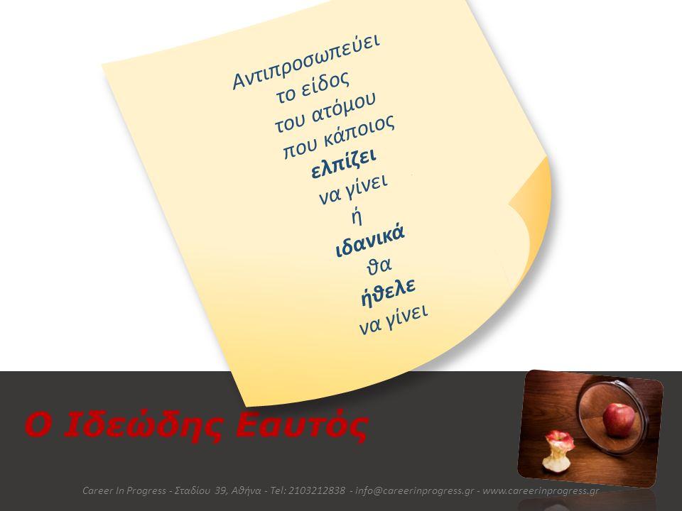 Πώς διαμορφώνεται όμως ο Εαυτός; Career In Progress - Σταδίου 39, Αθήνα - Tel: 2103212838 - info@careerinprogress.gr - www.careerinprogress.gr Χαρακτήρας Οικογένεια Φίλοι Σχολείο Εργασία