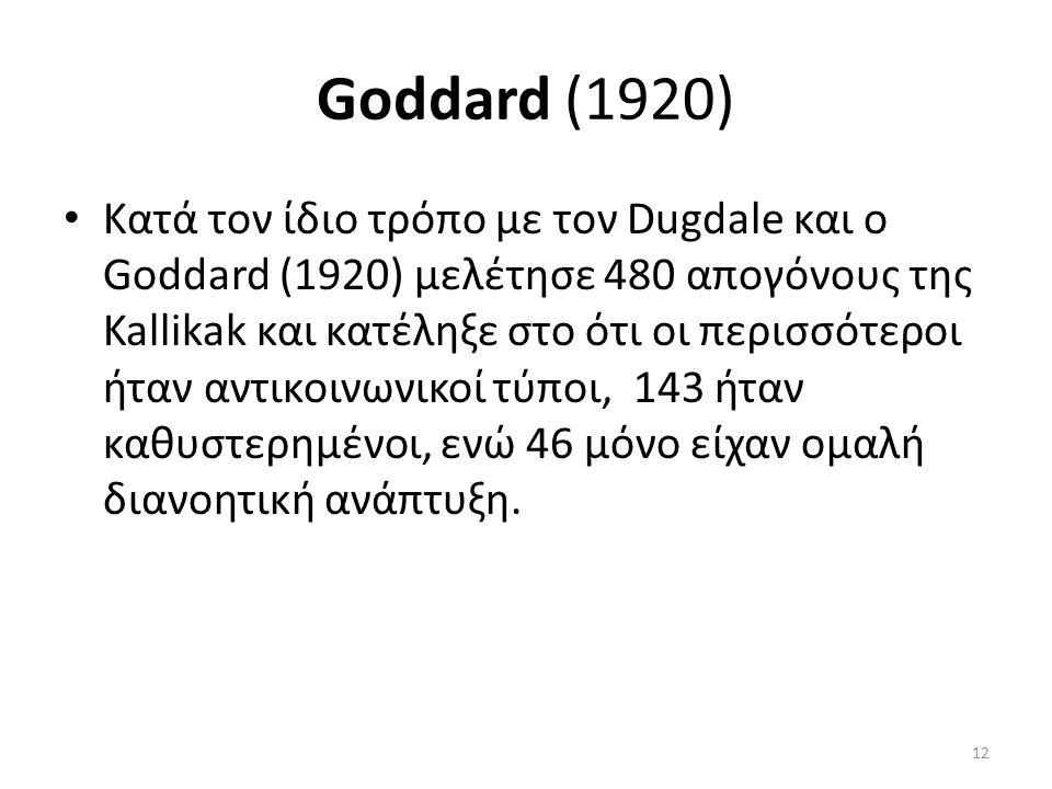 Goddard (1920) Κατά τον ίδιο τρόπο με τον Dugdale και ο Goddard (1920) μελέτησε 480 απογόνους της Kallikak και κατέληξε στο ότι οι περισσότεροι ήταν αντικοινωνικοί τύποι, 143 ήταν καθυστερημένοι, ενώ 46 μόνο είχαν ομαλή διανοητική ανάπτυξη.