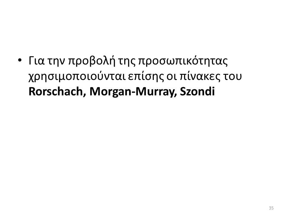 Για την προβολή της προσωπικότητας χρησιμοποιούνται επίσης οι πίνακες του Rorschach, Morgan-Murray, Szondi 35