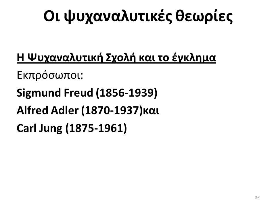 Οι ψυχαναλυτικές θεωρίες Η Ψυχαναλυτική Σχολή και το έγκλημα Εκπρόσωποι: Sigmund Freud (1856-1939) Alfred Adler (1870-1937)και Carl Jung (1875-1961) 36
