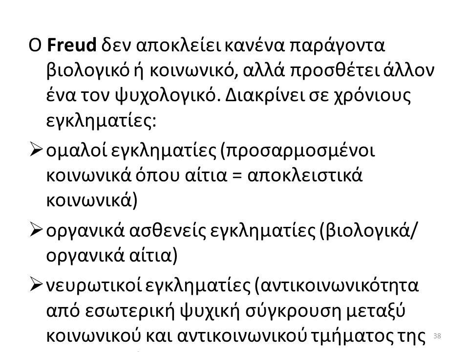 Ο Freud δεν αποκλείει κανένα παράγοντα βιολογικό ή κοινωνικό, αλλά προσθέτει άλλον ένα τον ψυχολογικό. Διακρίνει σε χρόνιους εγκληματίες:  ομαλοί εγκ