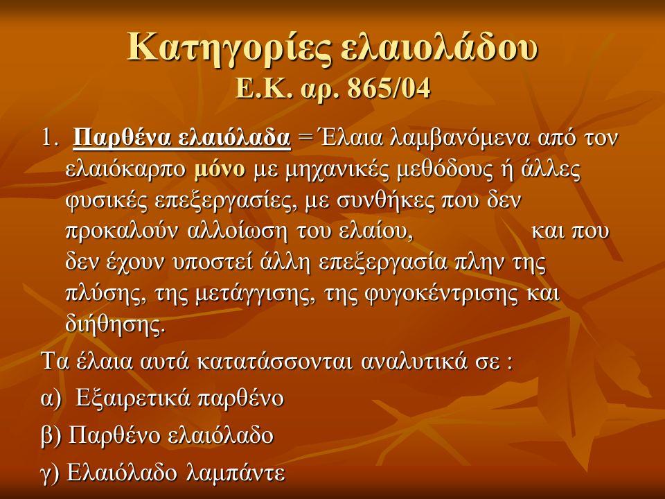 Κατηγορίες ελαιολάδου Ε.Κ. αρ. 865/04 1. Παρθένα ελαιόλαδα = Έλαια λαμβανόμενα από τον ελαιόκαρπο µόνο µε μηχανικές μεθόδους ή άλλες φυσικές επεξεργασ
