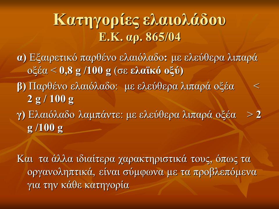 Κατηγορίες ελαιολάδου Ε.Κ. αρ. 865/04 α) Εξαιρετικό παρθένο ελαιόλαδο: με ελεύθερα λιπαρά οξέα < 0,8 g /100 g (σε ελαϊκό οξύ) β) Παρθένο ελαιόλαδο: με
