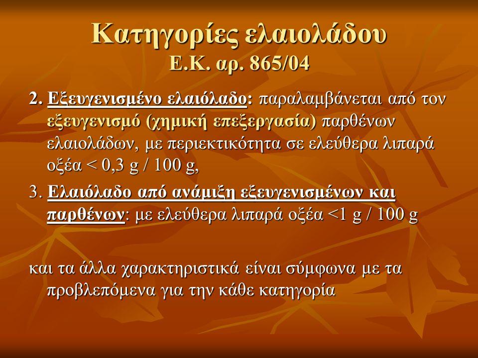 Κατηγορίες ελαιολάδου Ε.Κ. αρ. 865/04 2. Εξευγενισμένο ελαιόλαδο: παραλαμβάνεται από τον εξευγενισµό (χημική επεξεργασία) παρθένων ελαιολάδων, με περι