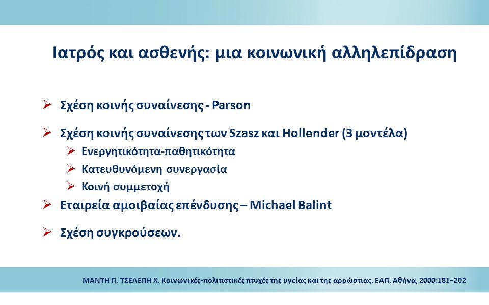 Ιατρός και ασθενής: μια κοινωνική αλληλεπίδραση  Σχέση κοινής συναίνεσης - Parson  Σχέση κοινής συναίνεσης των Szasz και Hollender (3 μοντέλα)  Ενε