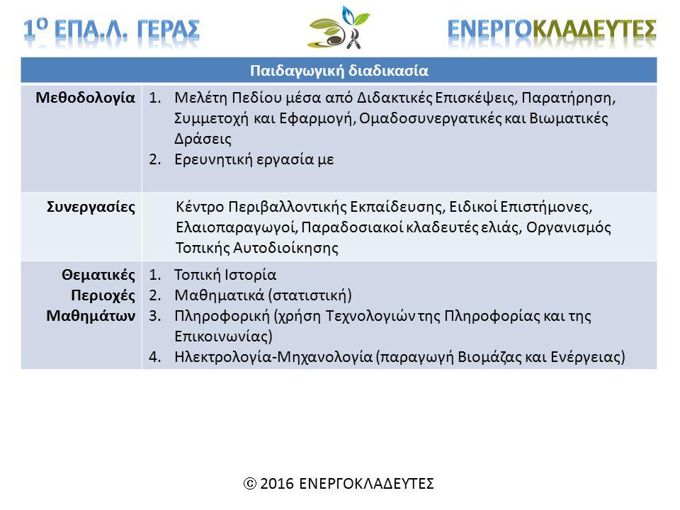 Παιδαγωγική διαδικασία Μεθοδολογία1.Μελέτη Πεδίου μέσα από Διδακτικές Επισκέψεις, Παρατήρηση, Συμμετοχή και Εφαρμογή, Ομαδοσυνεργατικές και Βιωματικές Δράσεις 2.Ερευνητική εργασία με ΣυνεργασίεςΚέντρο Περιβαλλοντικής Εκπαίδευσης, Ειδικοί Επιστήμονες, Ελαιοπαραγωγοί, Παραδοσιακοί κλαδευτές ελιάς, Οργανισμός Τοπικής Αυτοδιοίκησης Θεματικές Περιοχές Μαθημάτων 1.Τοπική Ιστορία 2.Μαθηματικά (στατιστική) 3.Πληροφορική (χρήση Τεχνολογιών της Πληροφορίας και της Επικοινωνίας) 4.Ηλεκτρολογία-Μηχανολογία (παραγωγή Βιομάζας και Ενέργειας)  2016 ΕΝΕΡΓΟΚΛΑΔΕΥΤΕΣ