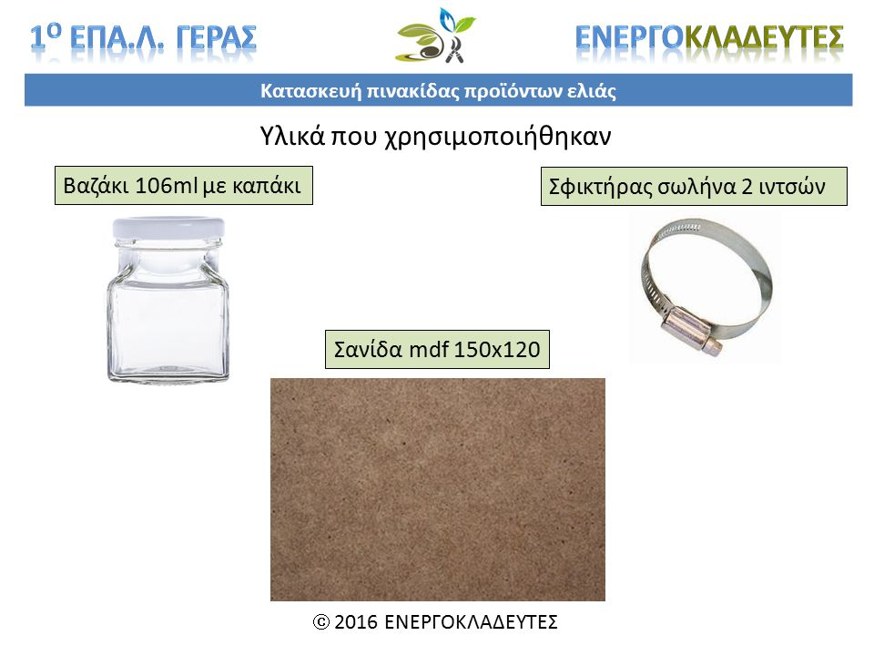 Κατασκευή πινακίδας προϊόντων ελιάς  2016 ΕΝΕΡΓΟΚΛΑΔΕΥΤΕΣ Υλικά που χρησιμοποιήθηκαν Βαζάκι 106ml με καπάκι Σφικτήρας σωλήνα 2 ιντσών Σανίδα mdf 150x120
