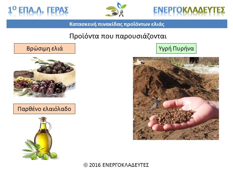Κατασκευή πινακίδας προϊόντων ελιάς  2016 ΕΝΕΡΓΟΚΛΑΔΕΥΤΕΣ Προϊόντα που παρουσιάζονται Βρώσιμη ελιά Παρθένο ελαιόλαδο Υγρή Πυρήνα