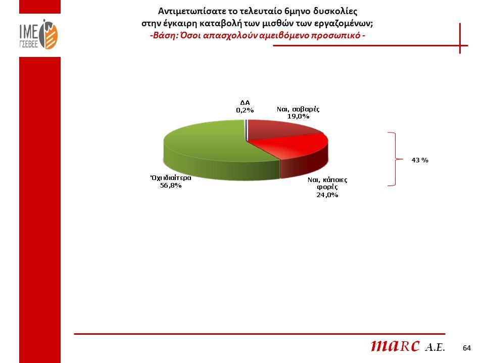 Αντιμετωπίσατε το τελευταίο 6μηνο δυσκολίες στην έγκαιρη καταβολή των μισθών των εργαζομένων; -Βάση: Όσοι απασχολούν αμειβόμενο προσωπικό - 43 % 64