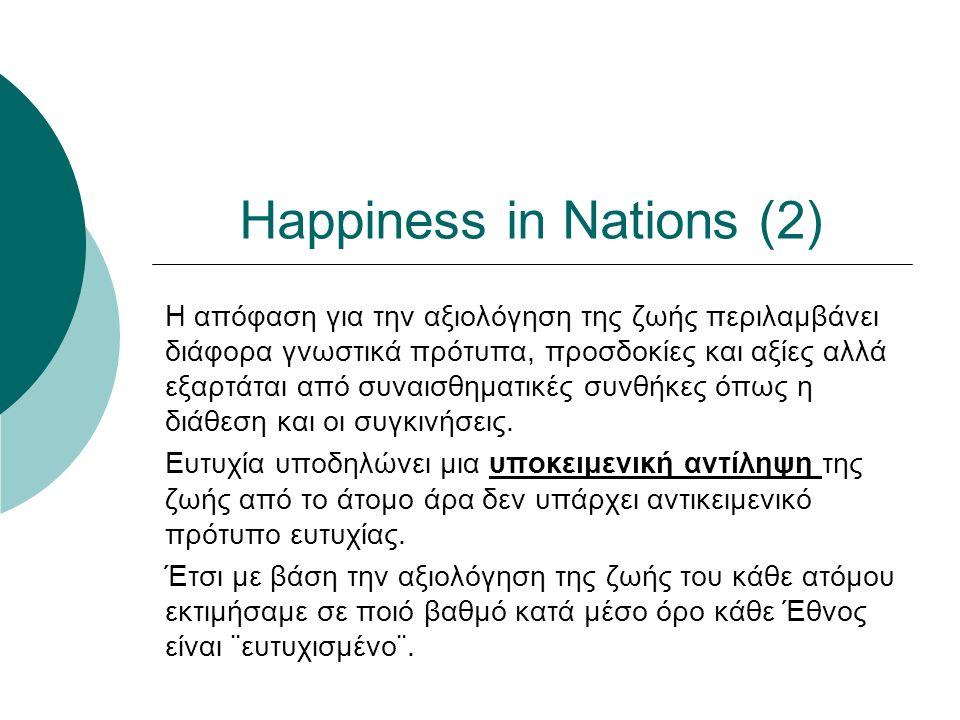 Happiness in Nations (2) Η απόφαση για την αξιολόγηση της ζωής περιλαμβάνει διάφορα γνωστικά πρότυπα, προσδοκίες και αξίες αλλά εξαρτάται από συναισθηματικές συνθήκες όπως η διάθεση και οι συγκινήσεις.
