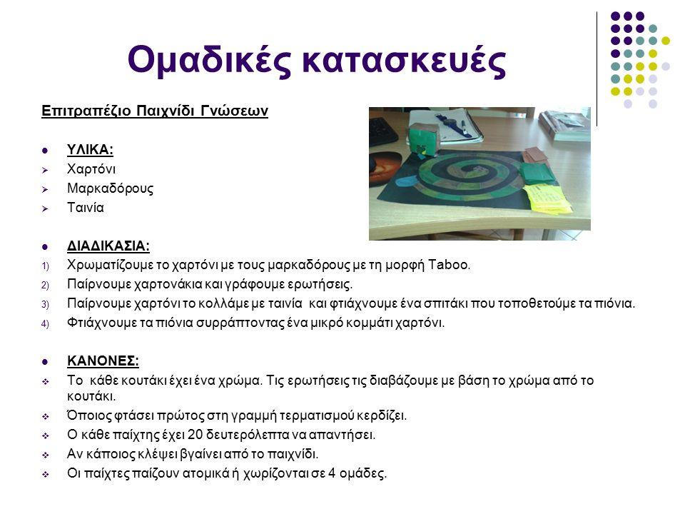 Ομαδικές κατασκευές Επιτραπέζιο Παιχνίδι Γνώσεων ΥΛΙΚΑ:  Χαρτόνι  Μαρκαδόρους  Ταινία ΔΙΑΔΙΚΑΣΙΑ: 1) Χρωματίζουμε το χαρτόνι με τους μαρκαδόρους με τη μορφή Taboo.