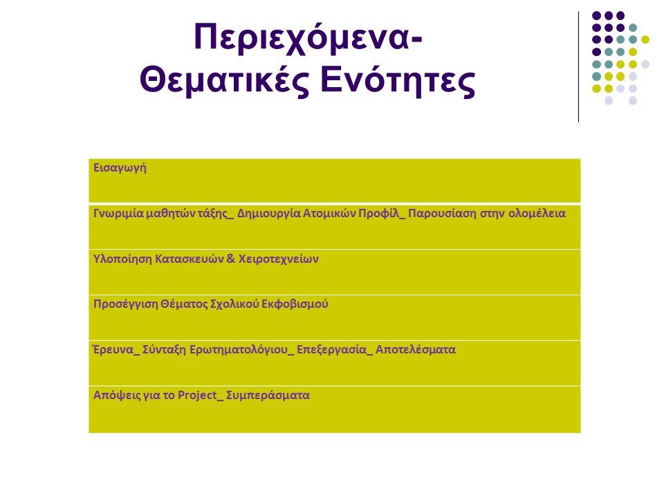 Περιεχόμενα- Θεματικές Ενότητες Εισαγωγή Γνωριμία μαθητών τάξης_ Δημιουργία Ατομικών Προφίλ_ Παρουσίαση στην ολομέλεια Υλοποίηση Κατασκευών & Χειροτεχνείων Προσέγγιση Θέματος Σχολικού Εκφοβισμού Έρευνα_ Σύνταξη Ερωτηματολόγιου_ Επεξεργασία_ Αποτελέσματα Απόψεις για το Project_ Συμπεράσματα